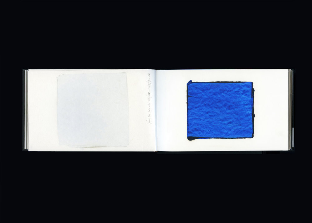 SKETCHBOOK  2013, pp. 43-44  pigment dispersal, aqueous polyester and bound paper  15.0 x 49.0 cm
