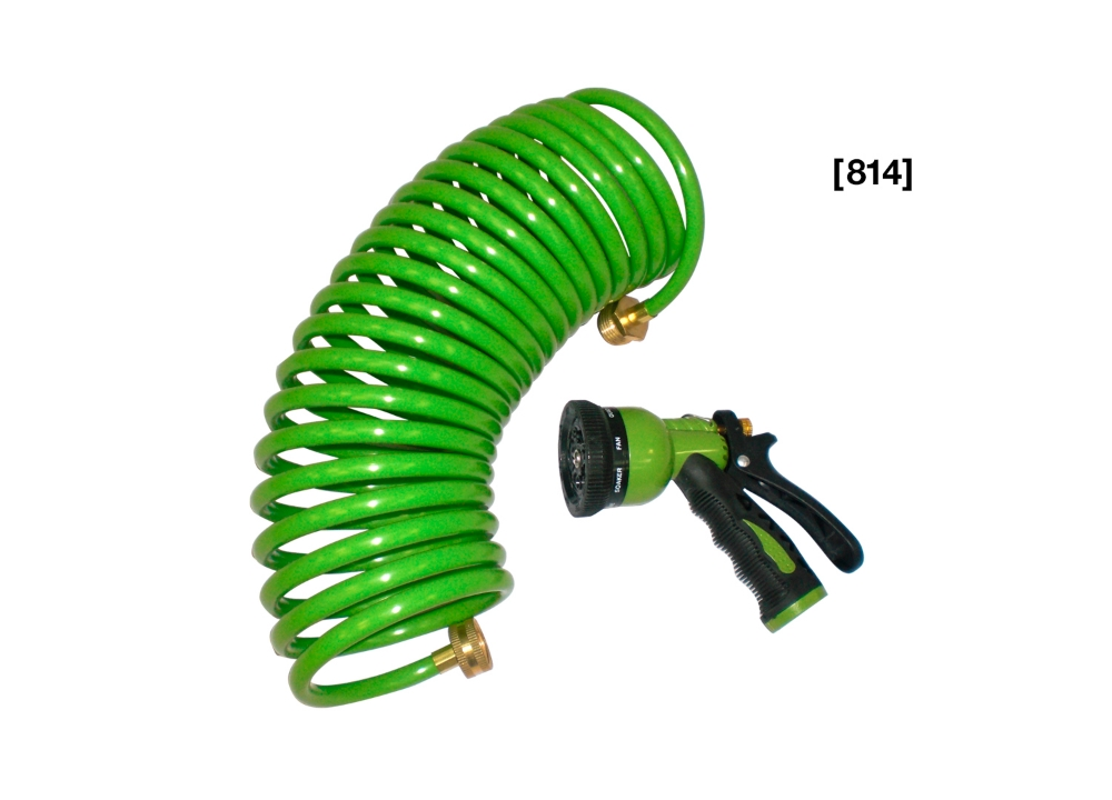 [ 814 ] 25 ft. Coil Hose with 6 Pattern Spray Nozzle