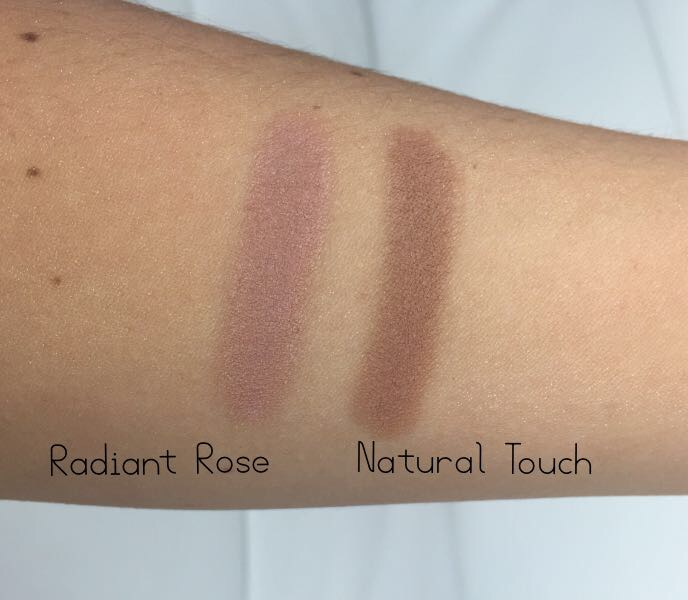 iQ Naturals Mineral Bronzers in Radiant Rose & Natural Touch Swatches