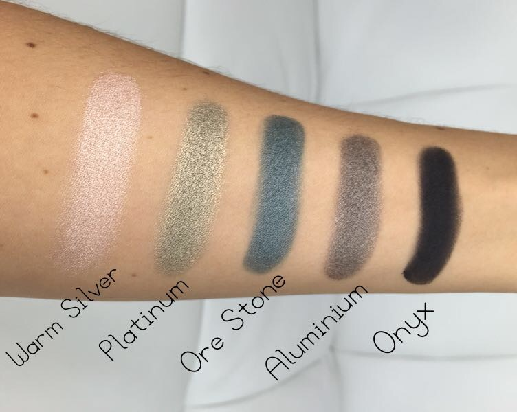 Zoeva Mixed Metals Eyeshadow Palette Swatches Bottom row, Warm Silver, Platinum, Ore Stone, Aluminium & Onyx