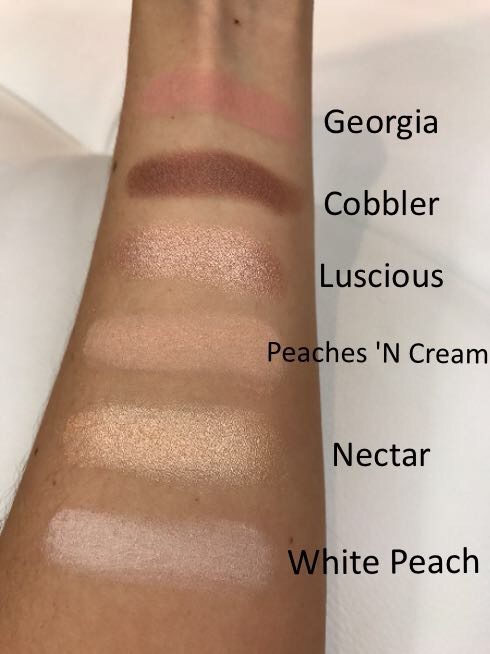 Too Faced Sweet Peach Palette Swatches First 6