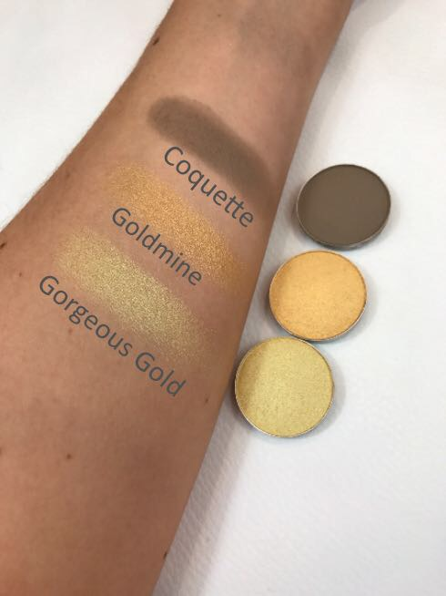 MAC Eyeshadows Gorgeous Gold, Goldmine & Coquette Swatches