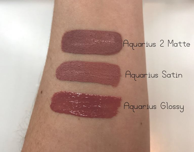 ColourPop Aquarius Glossy, Aquarius Satin & Aquarius 2 Matte Swatches