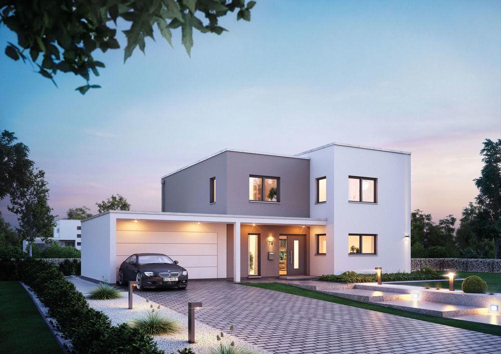 Beispiel für moderne Portalhäuser im Corbusier-Quartier
