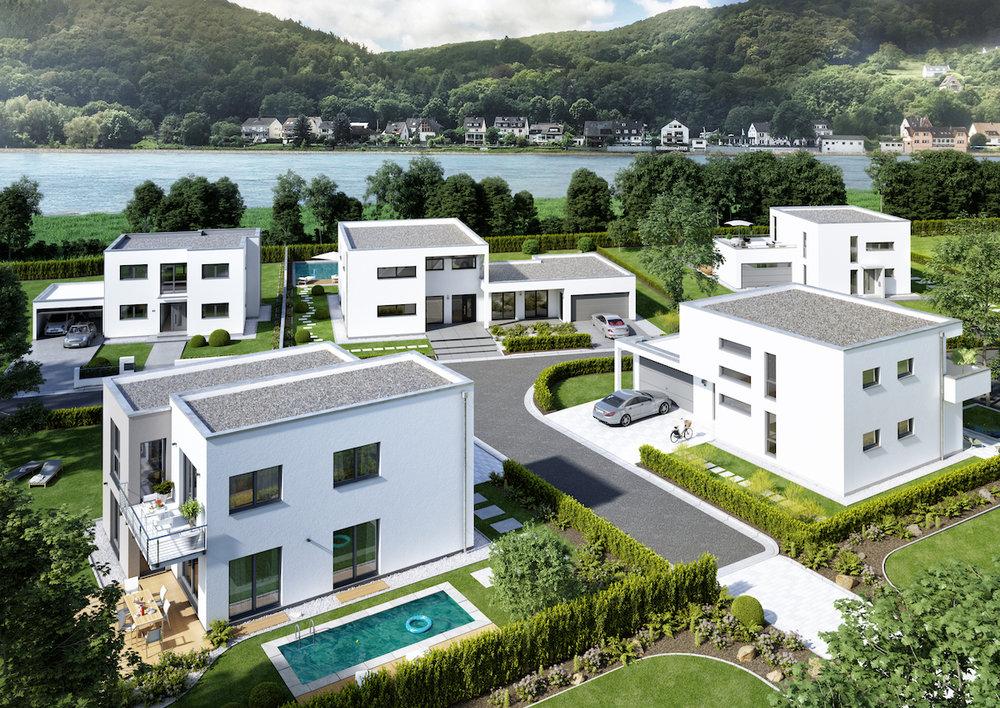 Impressionen zum Corbusier-Quartier und zum Gestaltungsstil. Visualisierung: Kern-Haus AG
