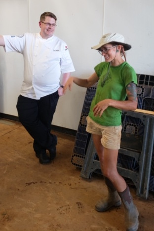 Ashley Rodgers of Rodgers Greens and Roots shows Chef McKeown around her farm.