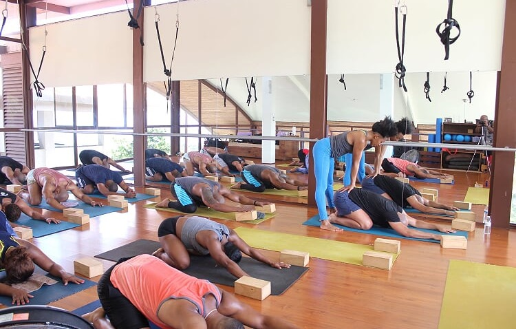 Pilates Angel Flow class at Spa Holis in Costa Rica, photo by Albert Williams Photography