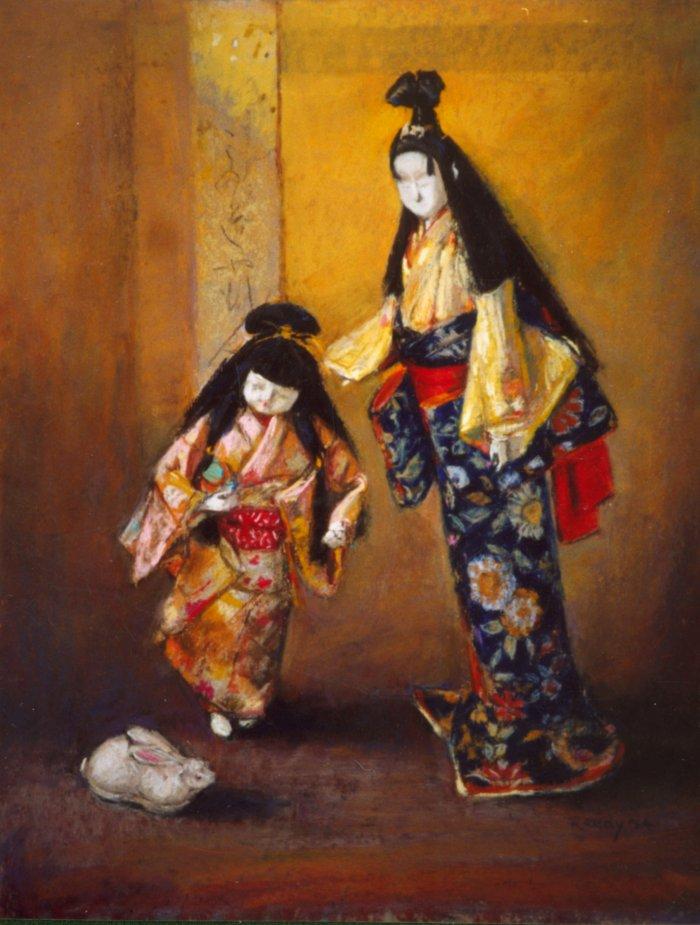 "Japanese Dolls - 17""x13"" Pastel"