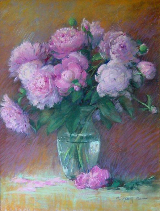 Peonies In Clear Vase