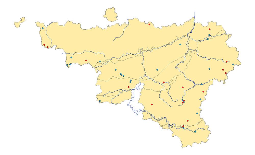 Figure 1 :Carte des observations de décembre 2017 (bleu) et janvier 2018 (rouge) en Wallonie.