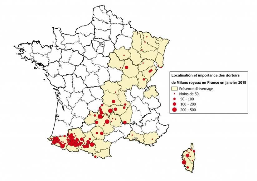 Figure 3 : Localisation des concentrations et dortoirs de Milans royaux en janvier 2018 en France (source LPO, mission rapaces – htttp://rapaces.lpo.fr/milan-royal)