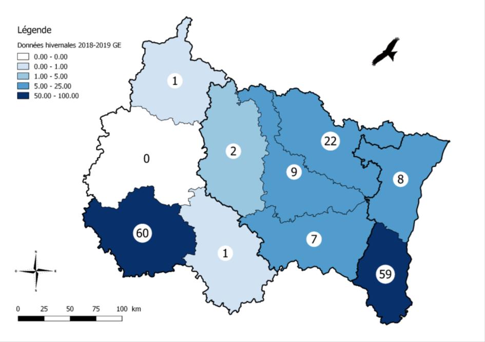 Figure 4 : Répartition départementale des Milans royaux observés en janvier 2019 dans le Grand Est (Leblanc et al., 2019).