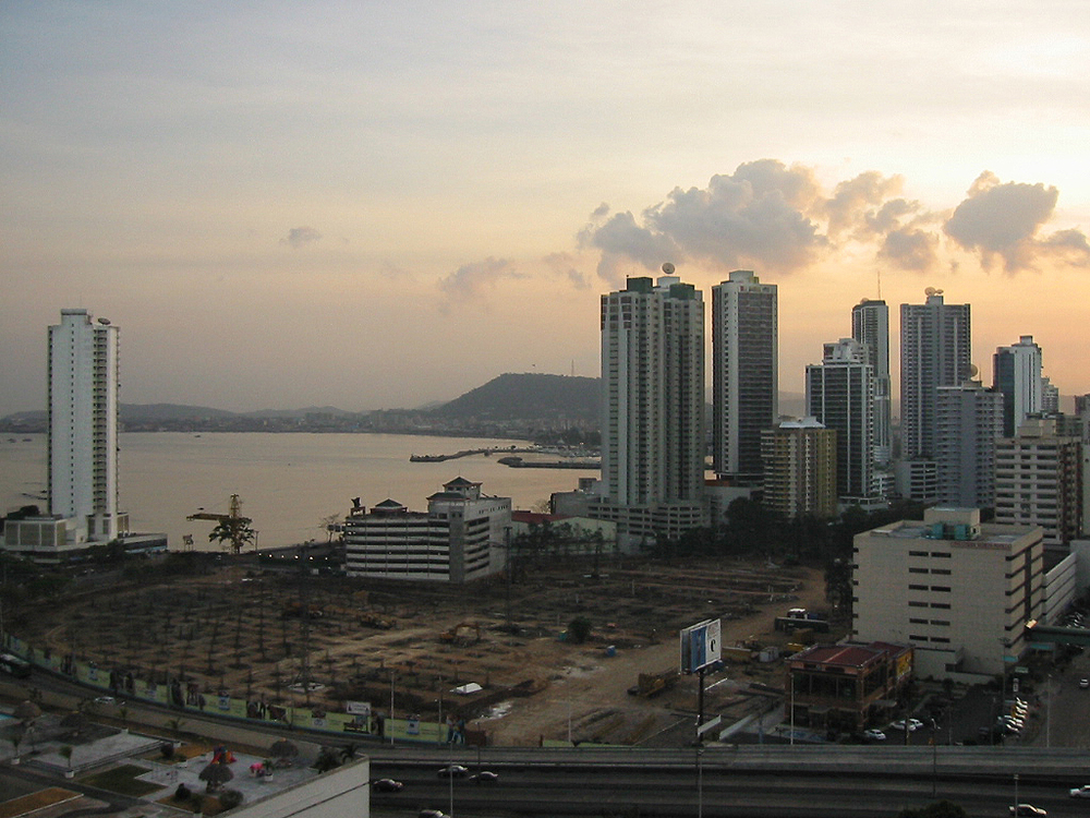 Panama. View of Balboa Avenue from Paitilla, Panama City.