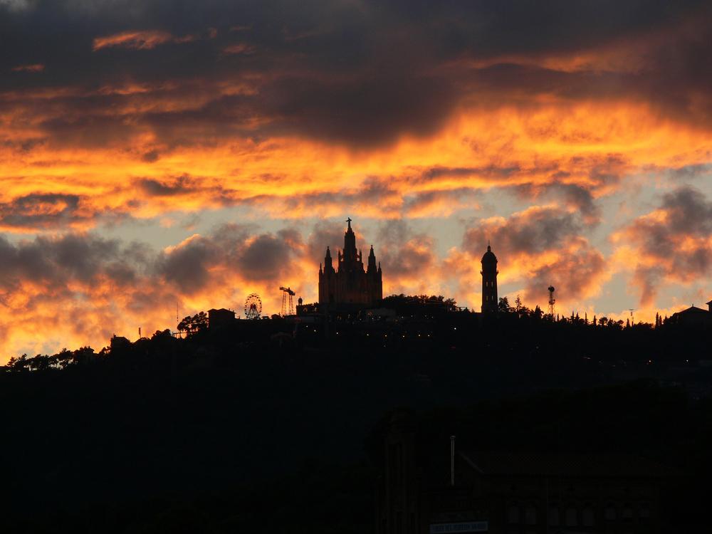 Barcelona. View of Tibidabo from La Salut, Gràcia.