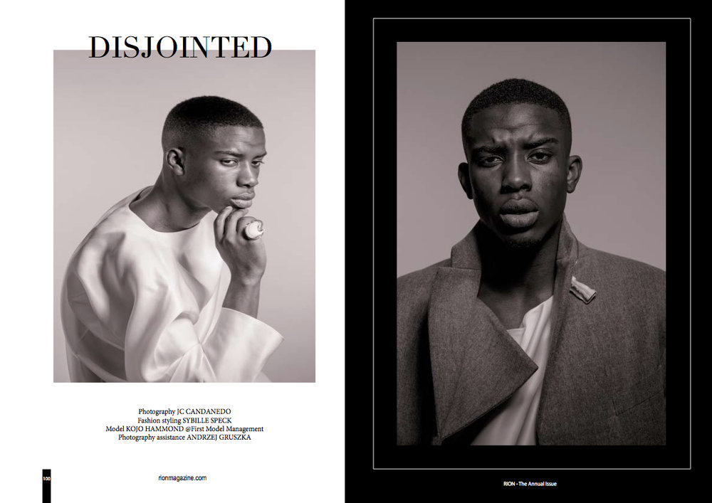 "RION MAGAZINE  Spread. Menswear fashion editorial about our gracefully confused, torn, yet decided young generation, published on ""The Annual"" special edition 2017 of Rion Magazine."