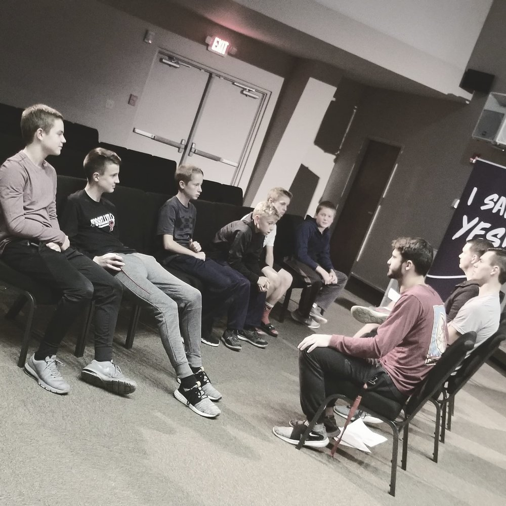 Some of our Youth Leaders having great conversations with our Fellowship Students on Wednesday Nights @ 6 PM.
