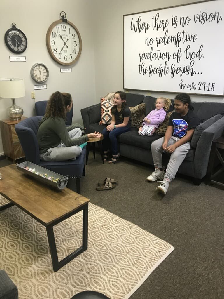 Marin Carter working with some of our students during Fellowship Kidz on Wednesday Night. 10-24-18