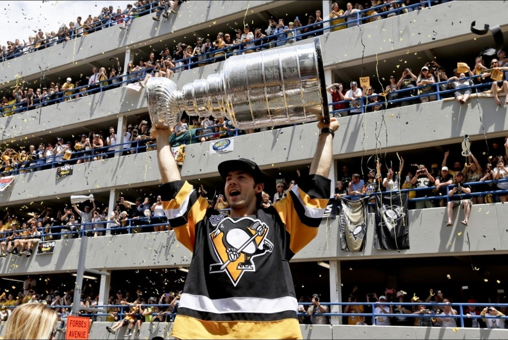 Photo Courtesy of Keith Srakocic and the Associated Press- Kris Letang and the Stanley Cup