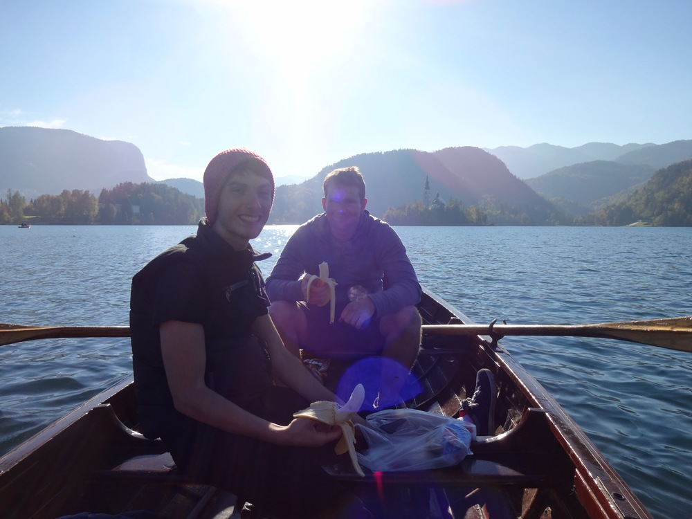 paid to row out to the island in slovenia, saved money by bringing lunch. bled, slovenia -m.quigley