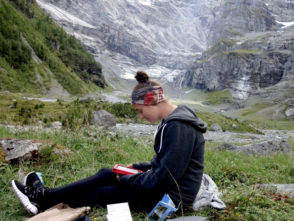 bags are needed for the imporatnt things - like bringing food on this hike. Gimmelwald, Switzerland - m.quigley