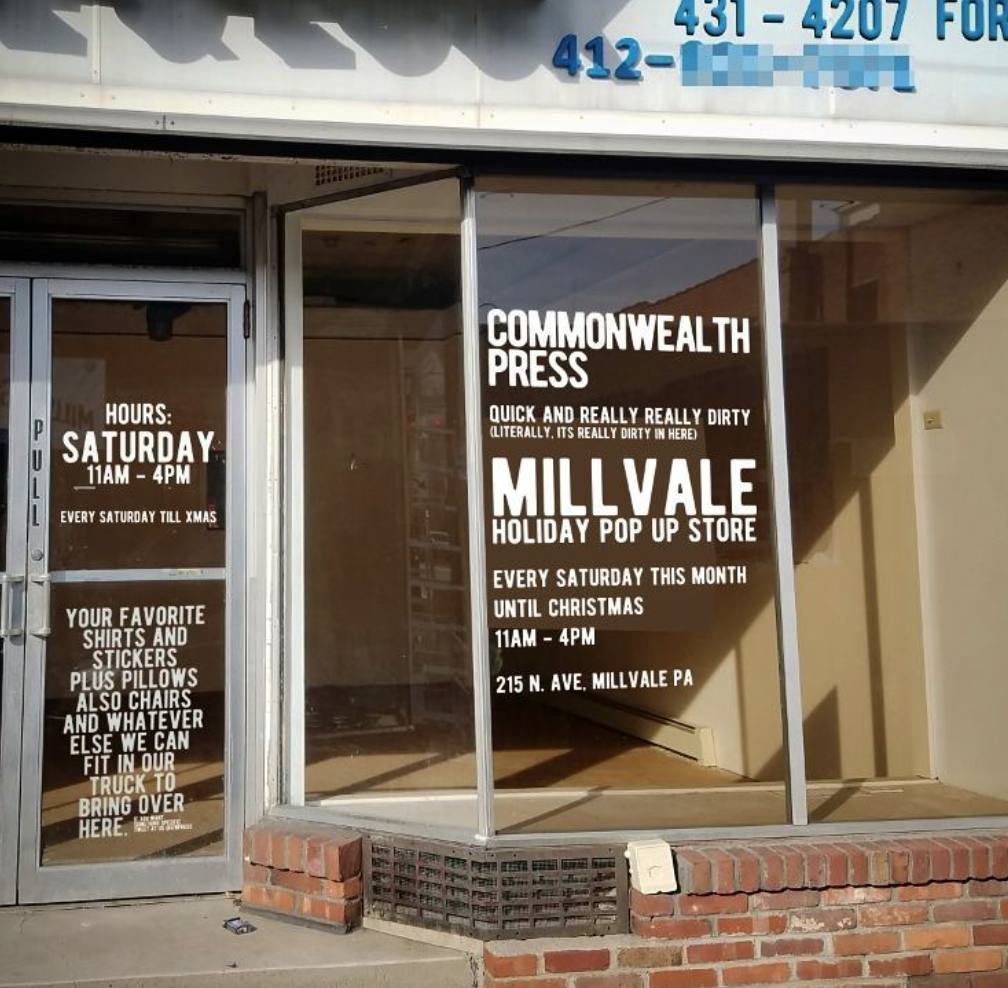 CommonWealth Press Pop up Shop Coming to Millvale