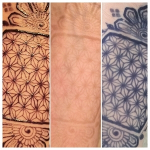 Left: Jagua paste on. Middle: Immediately after paste removal. RIght: 6 hours after paste removal