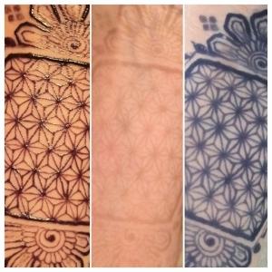 Left: Jagua paste on. Middle: Immediately after paste removal. RIght: 6 hours after paste removal