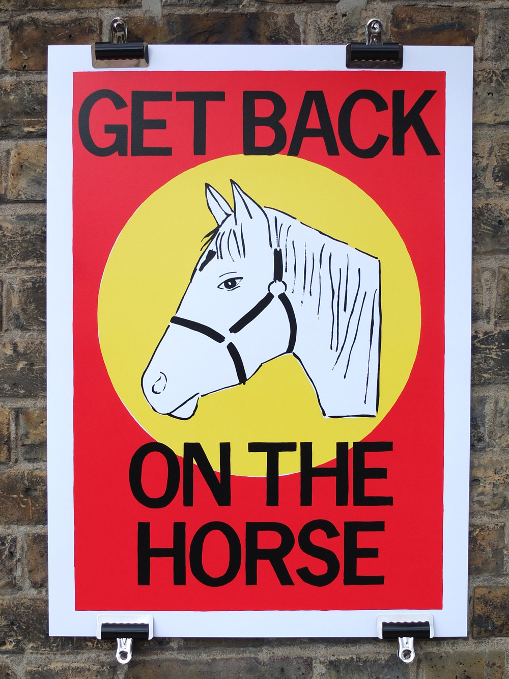 rose stallard get back on the horse screen printed poster screen printing north london