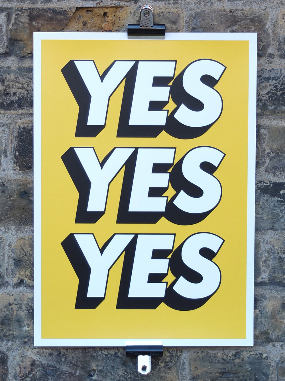 Yes Yes Yes Screen Printed Poster The Positive Press North London Screen Printing