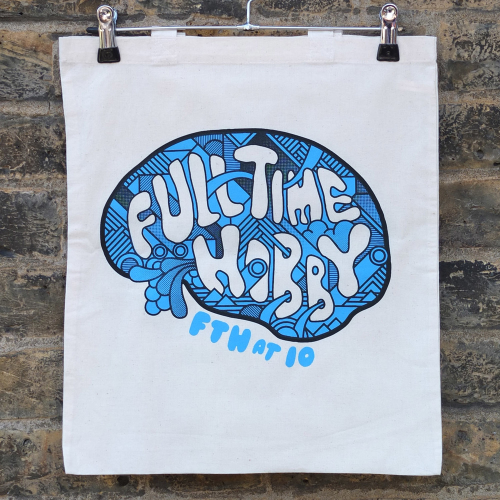 Full Time Hobby Screen Printed Tote Bags Screen Printing London