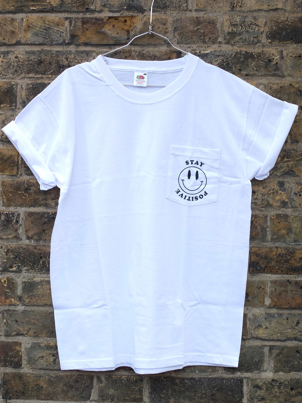 Stay Posive Screen Printed Pocket T-Shirts