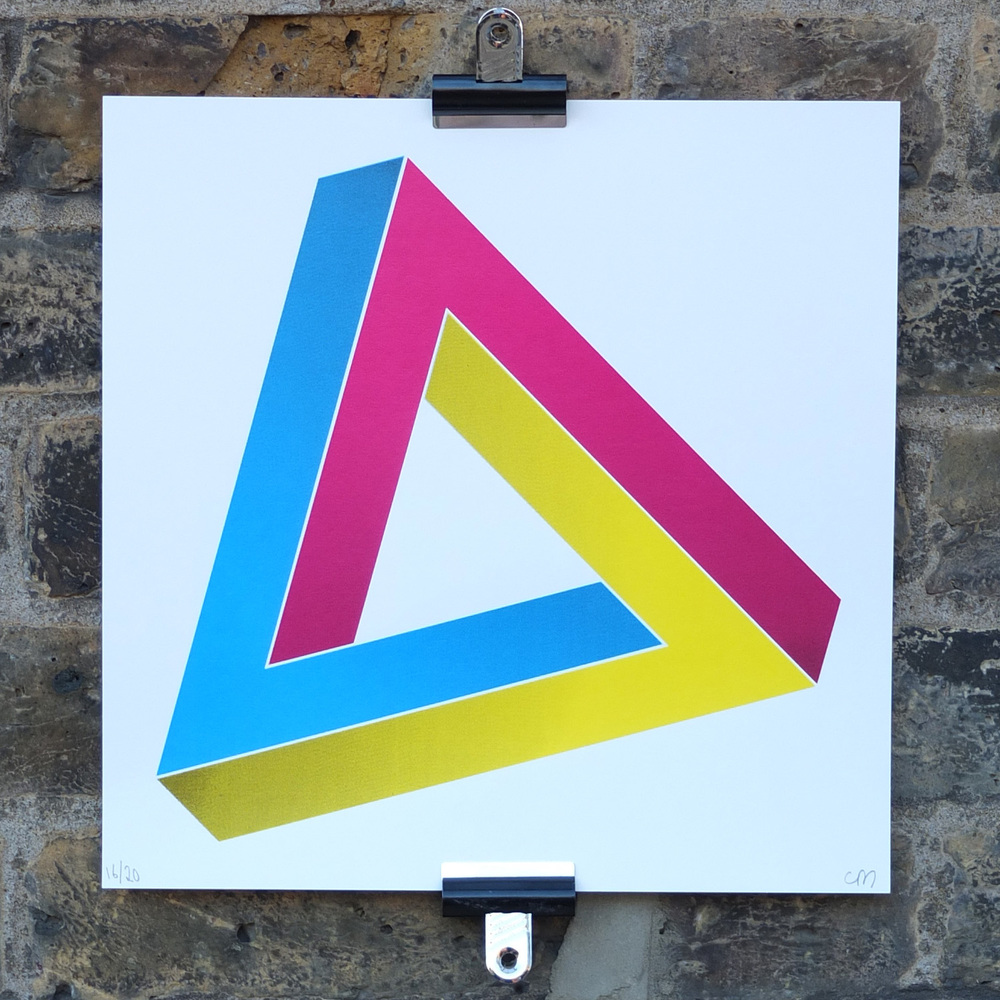 Optical Illusion Screen Print Penrose Triangle