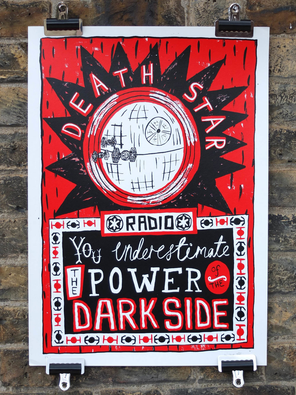 Adam Corns Screen Printed Poster Death Star Radio