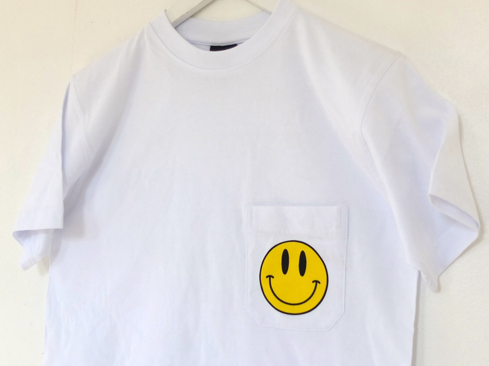 north London screen printing service smiley face pocket tee