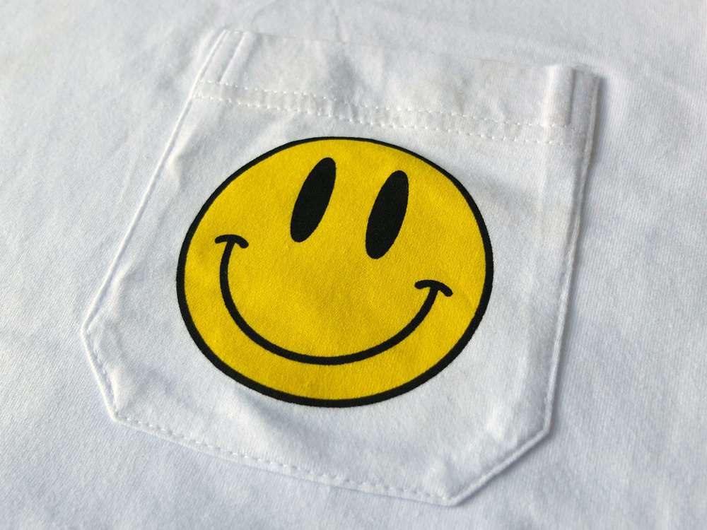 North London Screen Printing Smiley Face Pocket Tee The Positive Press