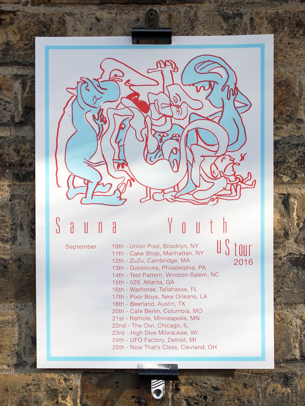 Sauna Youth Screen Printed US Tour Posters The Positive Press Water Based Screen Printing London