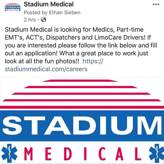 Come work for us! Link in our bio! . . . #comeworkforus #jobshiring #stadiummedical #bestplacetowork #eventmedical #emslife #paramedic #emt #specialevents #awesomepeople