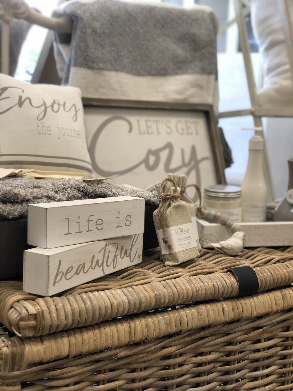hostess gifts, pillows, candles, natural soap