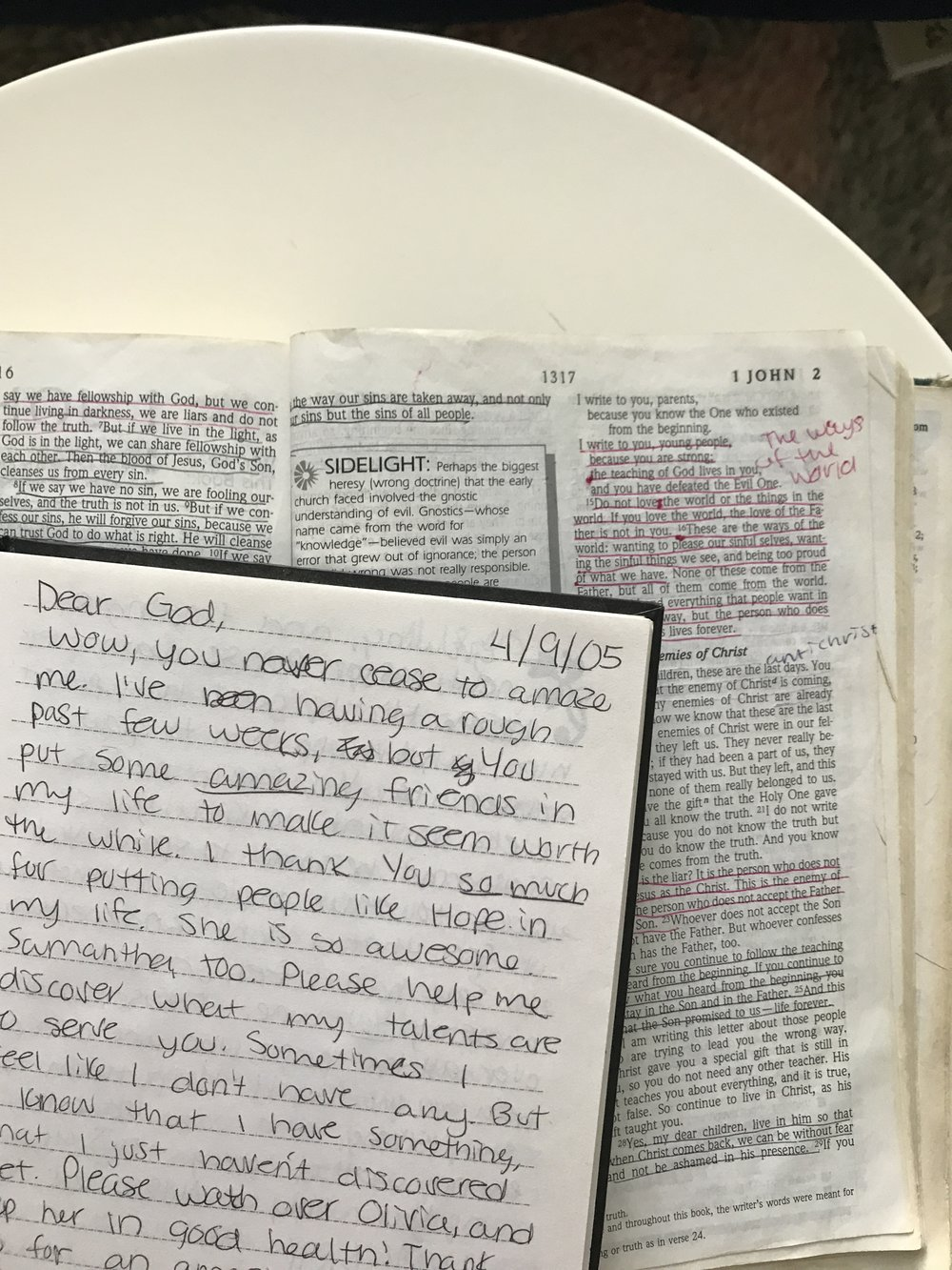 I love paging through the Bible and journal I was using during those early years of following Jesus. It's half comedic and half precious, which might just my favorite combination for some entertainment!