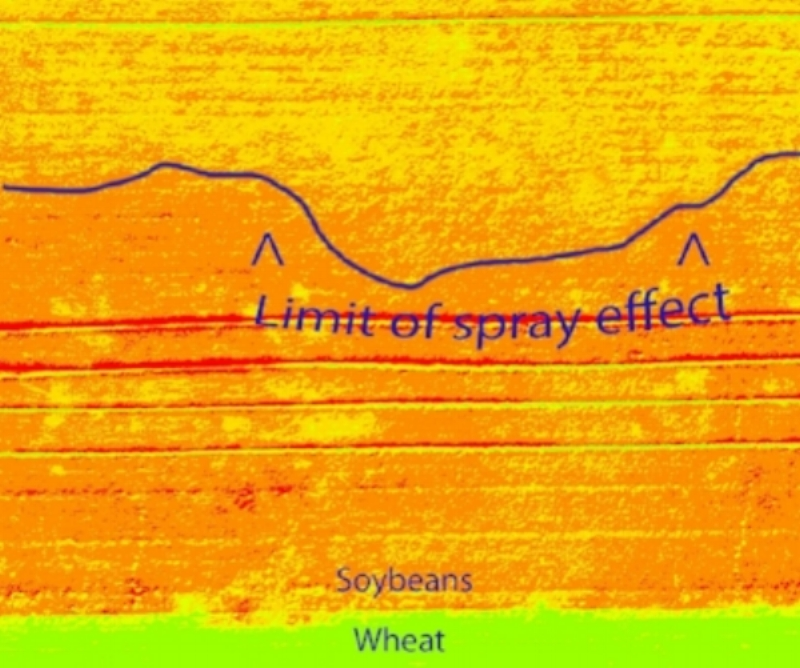 NDVI assessment of spray damage from a wheat field on soybeans in Saskatchewan.