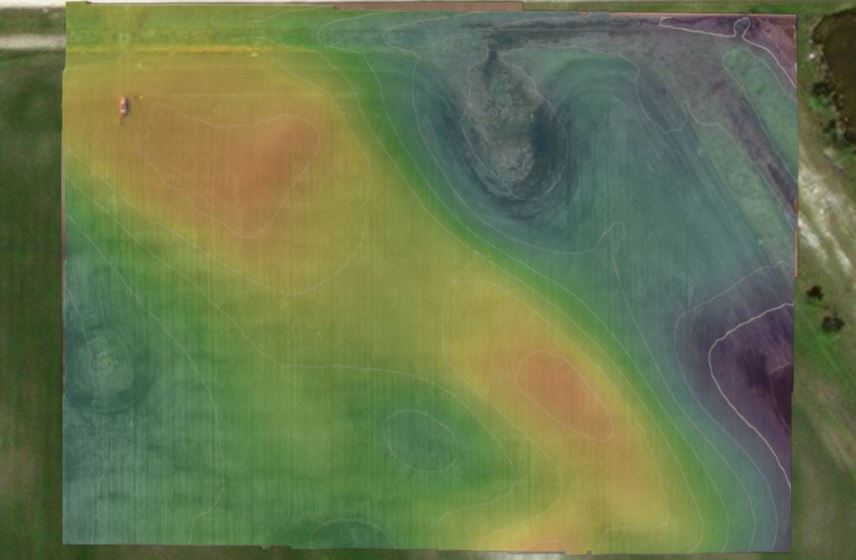 #10 - Elevation Map showing high points and low spots in the field