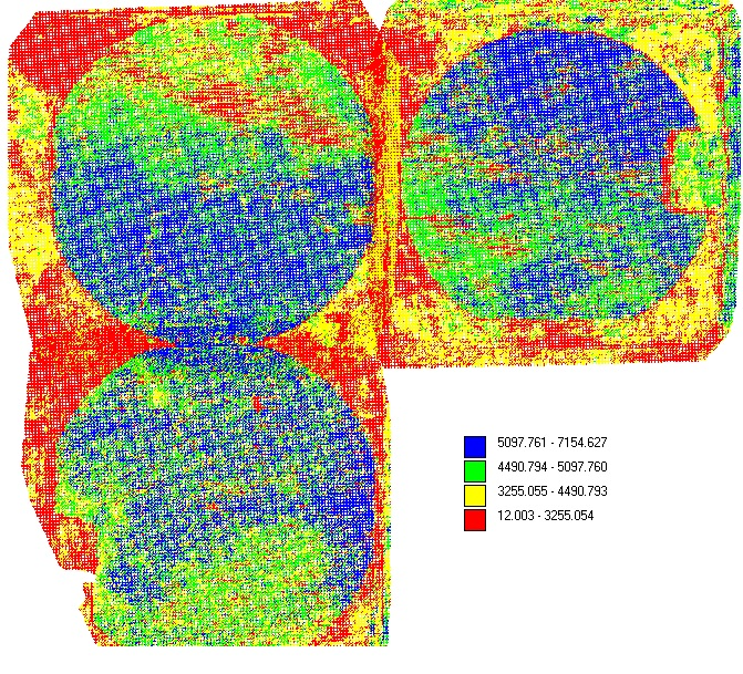 "NDVI (Normalized Difference Vegetation Index) analysis of some potato fields in Western Manitoba.  The colour changes based on the health of the plants.  In these cases, the potato fields are surrounded by wheat, which has a much lower reflectance value than the potatoes so it appears to be ""dead"" - even though it was thriving."