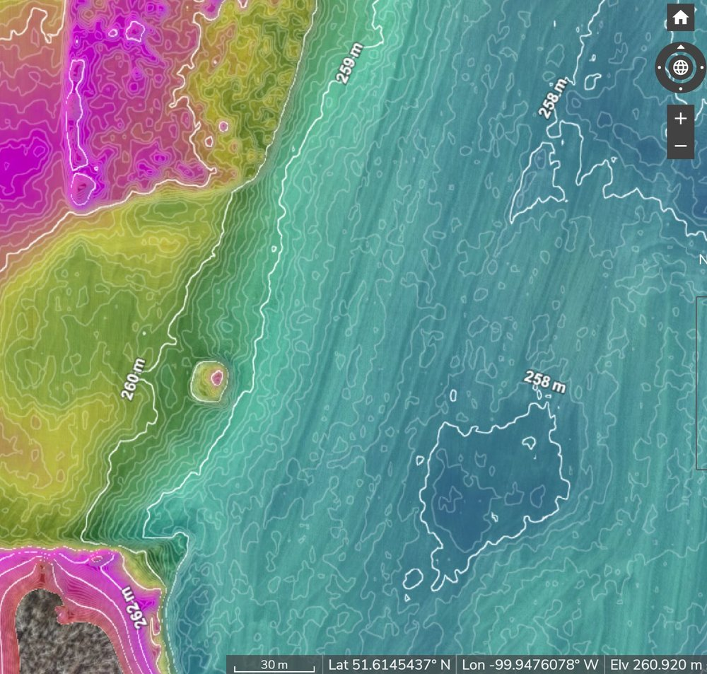 Colour contour Digital Elevation Model (same location as the image on the left)