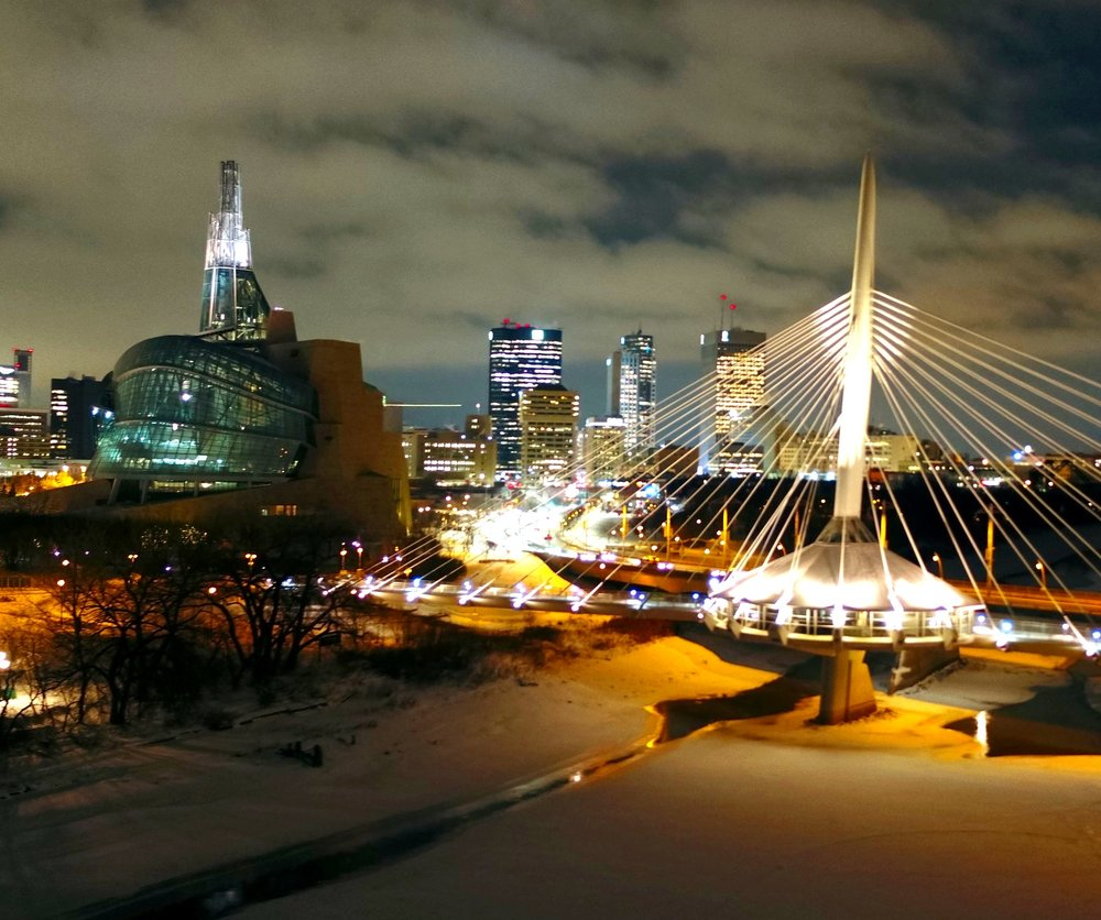 The Forks, Downtown Winnipeg. Great shot of the Esplanade Riel Bridge over the Red River, next to the Canadian Museum of Human Rights (CMHR). Taken during the Crohn's & Colitis Canada Bridge Walk using the DJI Inspire 2.   30 Nov 18