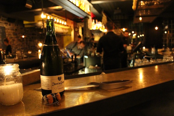 Sabred champagne at  La Champagnerie , Montréal