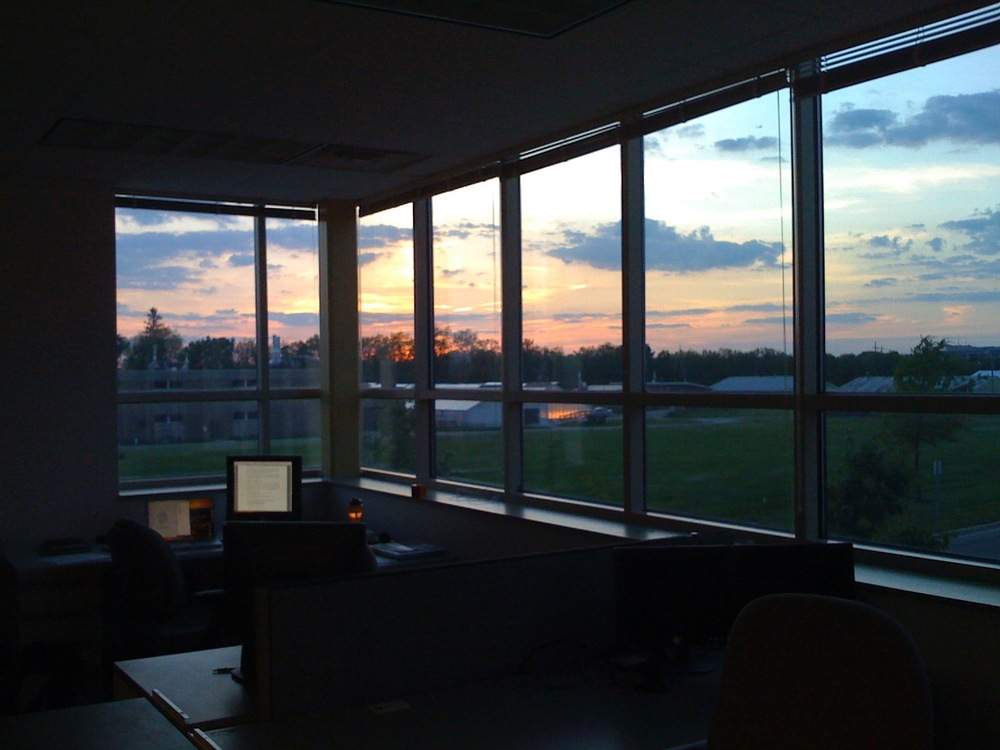 Early morning start at the original OrangeQC office space at Research Park at UIUC 2009.