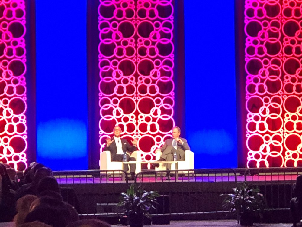"""ISSA Director John Barrett and President George W. Bush met for a """"Fireside Chat"""" about leadership, personal growth, and more. We had pretty great seats!"""
