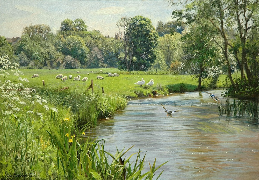 Hand-Drawn Picture of River Colne by artist  Peter Barker' Palette http://bit.ly/1M3VQlZ