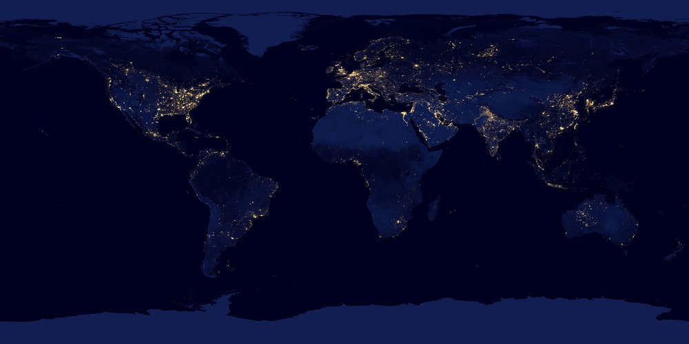 World Map at Night - NASA