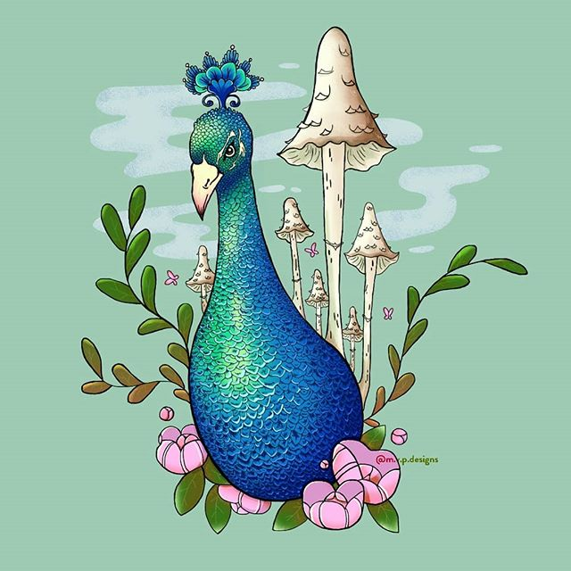 🍄 some tablet practice 🍄 Inspired by a scene in Mary & the Witch's Flower  #illustration #peacock #mushroom #digitalart #design #graphicdesign #photoshop #butterflies #designinspiration #graphicdesigncentral #graphicdesignblg #graphicroozane #illustree @illustree #picame #graphicdesigner #simplycooldesign #instagood #kawaii #sparkle #cute #forest #illustrator  #leaves #feathers #nofilter